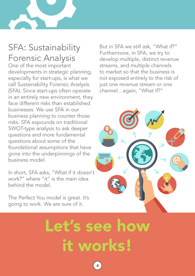 "SFA: Sustainability Forensic Analysis One of the most important developments in strategic planning, especially for start-ups, is what we call Sustainability Forensic Analysis (SFA). Since start-ups often operate in an entirely new environment, they face different risks than established businesses. We use SFA in our business planning to counter those risks. SFA expounds on traditional SWOT-type analysis to ask deeper questions and more fundamental questions about some of the foundational assumptions that have gone into the underpinnings of the business model.   In short, SFA asks, ""What if it doesn't work?"" where ""it"" is the main idea behind the model.  The Perfect You model is great. It's going to work. We are sure of it.  But in SFA we still ask, ""What if?"" Furthermore, in SFA, we try to develop multiple, distinct revenue streams, and multiple="